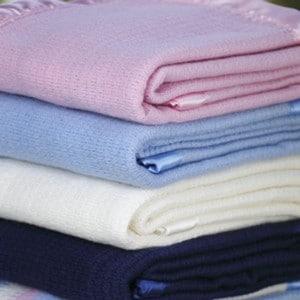 Folded wool blankets